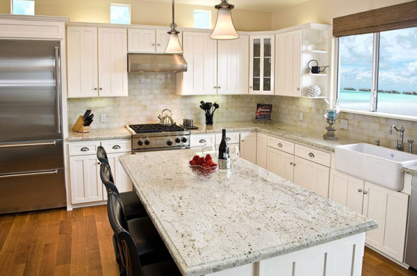 Dallas white granite kitchen countertop