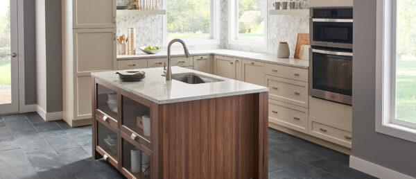 Gray lagoon kitchen quartz